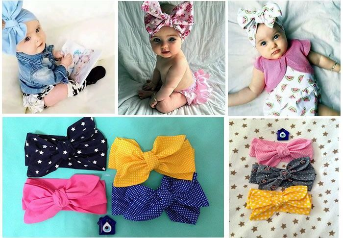 Baby Girl Headbands Toddler Pure Cotton Knotted Head wrap Bows Hair Accessories B, M Toddler 15