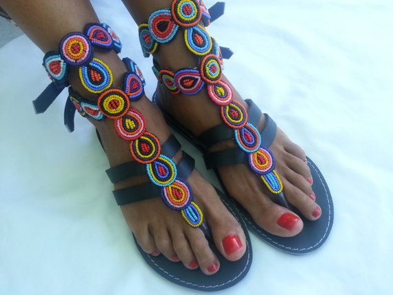 African Colours Beaded Leather Sandals by Africanheritagegifts, £45.99