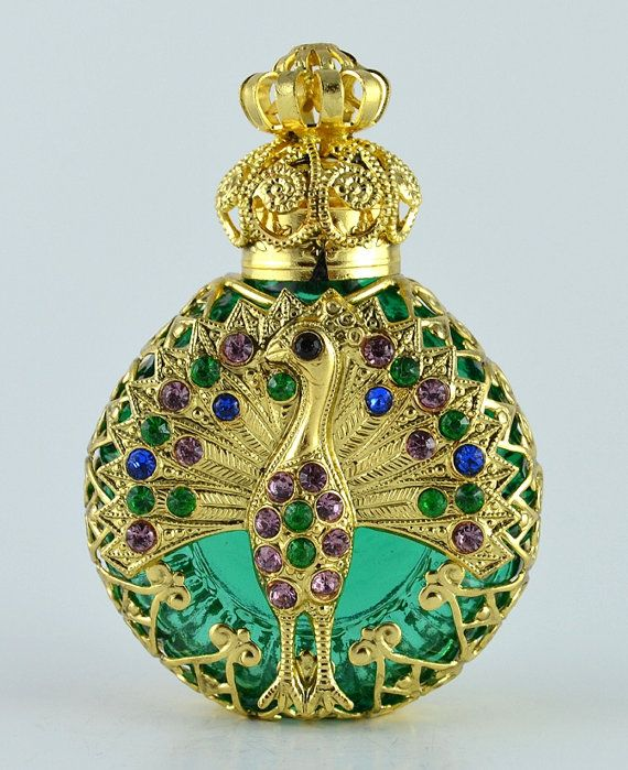 Vanity peacock gold tome filigree with inlaid crystal stones perfume bottle