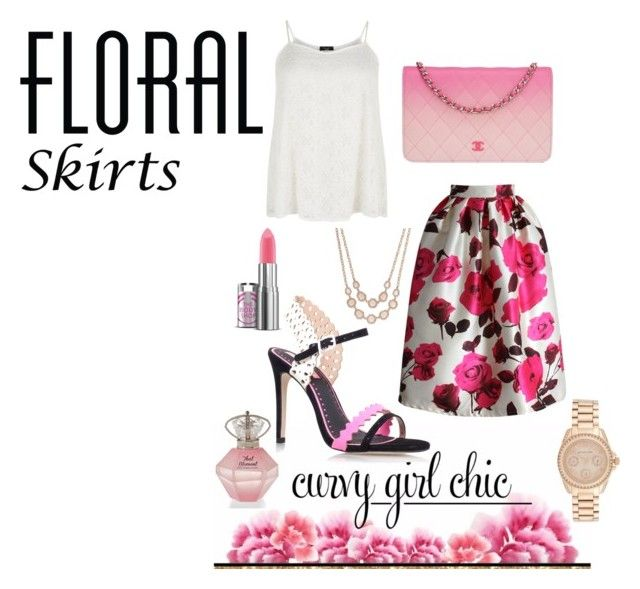 """""""Floral Skirts with Curvy Girl Chic"""" by zoe-keredy ❤ liked on Polyvore featuring Chicwish, Chanel, Miss KG, Michael Kors and Charter Club"""