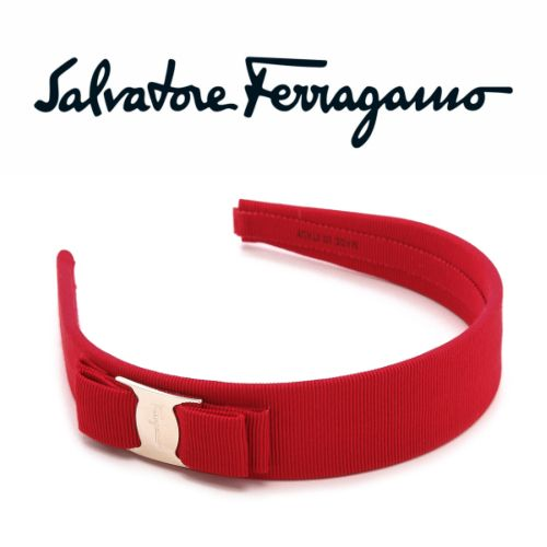 Salvatore Ferragamo サルヴァトーレフェラガモ ヴァラリボンカチューシャ ワイド レッド