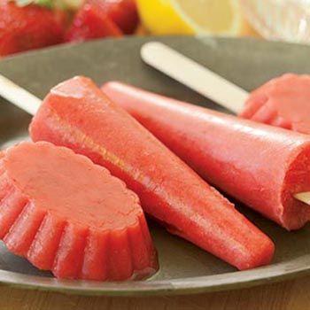 Frozen Strawberry Lemonade Ice Pops Recipe | Farm Flavor