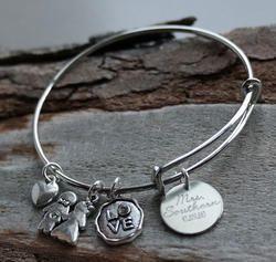 Wedding Personalized Adjustable Wire Bangle Bracelet