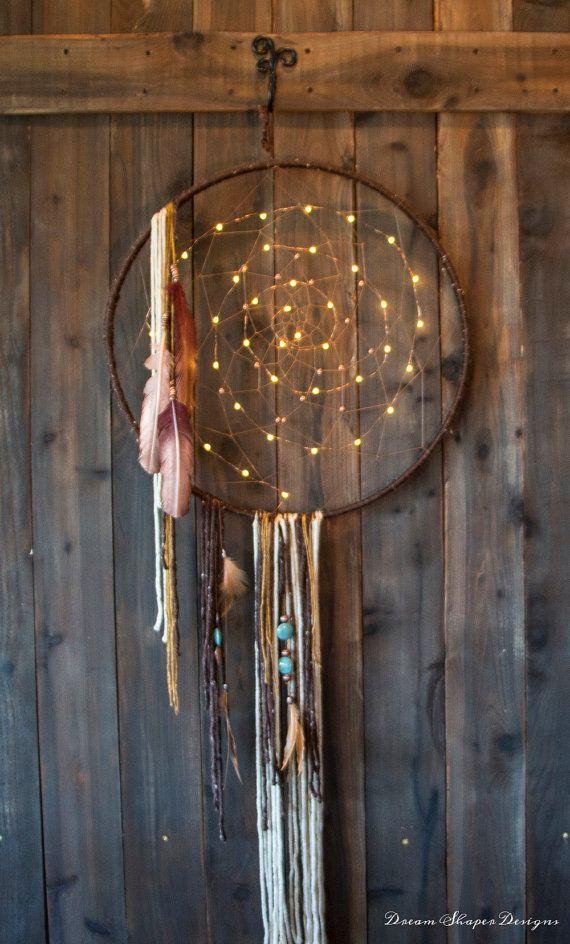 Copper Lights lighted Dreamcatcher by DreamShaperDesigns on