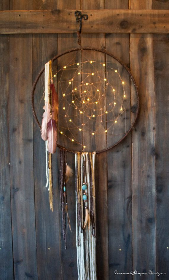 Copper Lights  lighted Dreamcatcher by DreamShaperDesigns on Etsy                                                                                                                                                                                 More