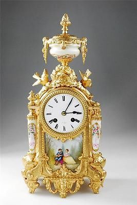Antique Gilt Metal White Sevres Porcelain panel 8 Day Mantel Clock