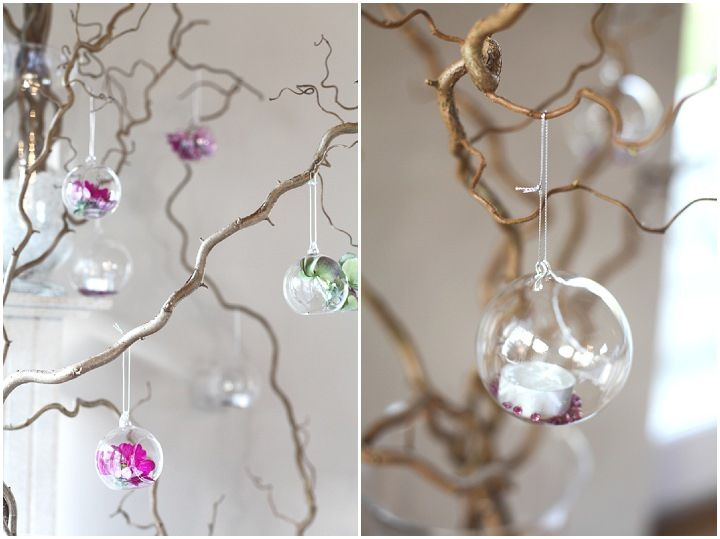 twisted willow and hanging glass vases decorations