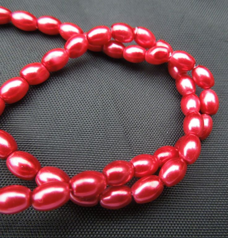 "16"" strand Red Glass Oval Rice Pearls Jewellery Making Beads 8mm x 6mm"