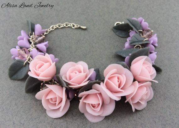Pink rose bracelet Polymer clay jewelry Pink flower