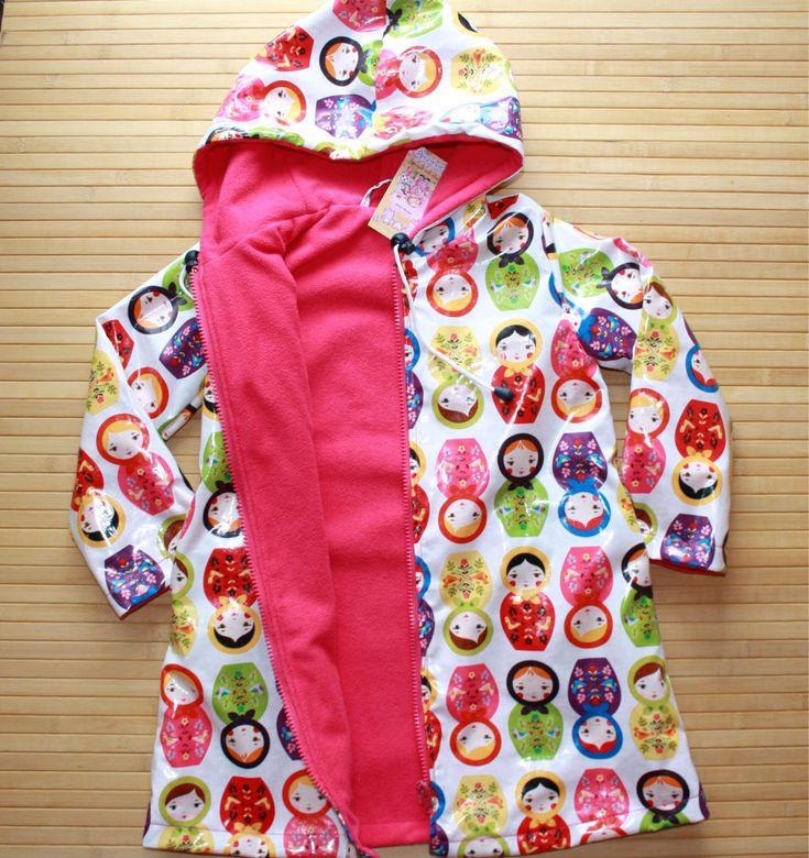 """Купить Плащик- дождевик """"Матрешки"""" куртка плащ детский - рисунок, ламинированная ткань, ламинированный хлопок"""