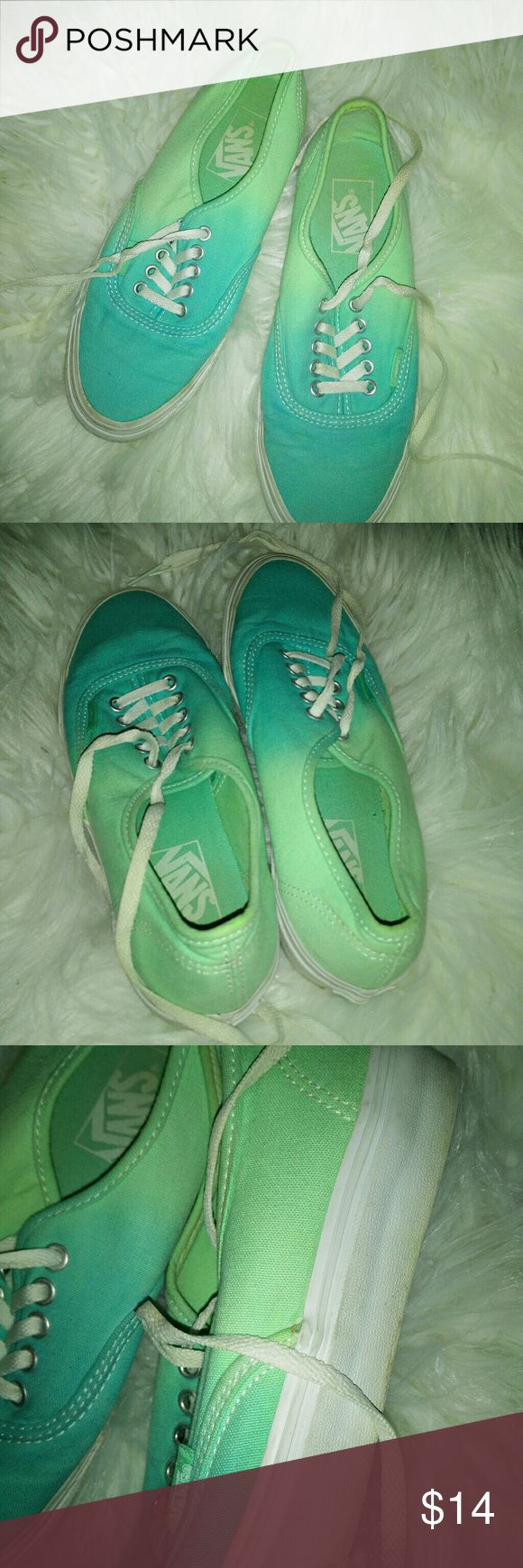 VANS ladies shoes VANS ladies shoes  Two tone color go from teal blue toe to lighter blue back to heel Men's size 4.5 Ladies size 6 Great condition Vans Shoes Sneakers