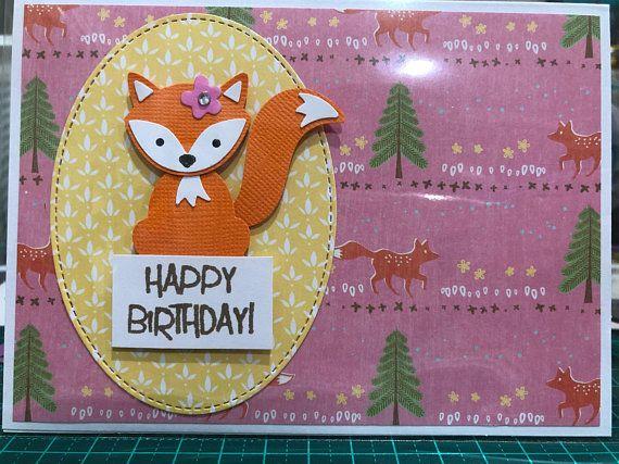 Girl fox birthday card