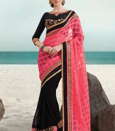 Buy Pink and black embroidered net saree with blouse party-wear-saree online