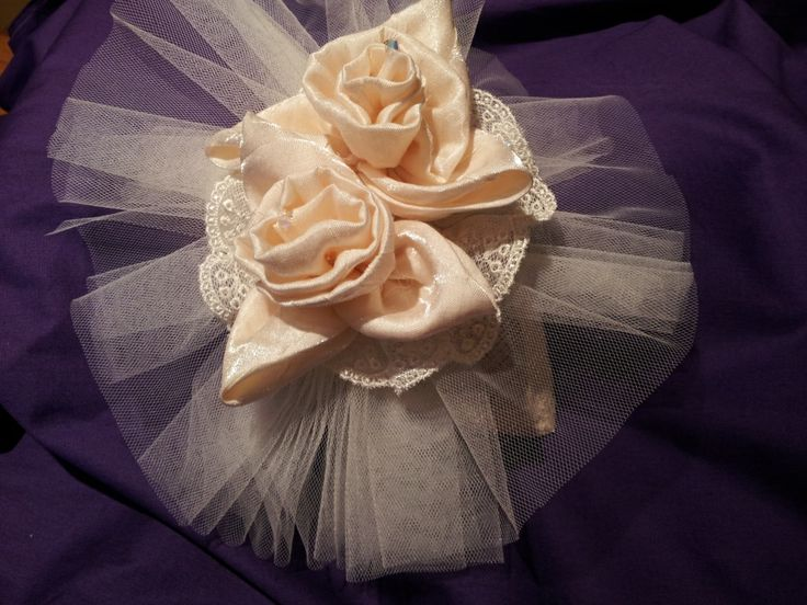 Vintage bridal headpiece with handmade silk flowers and silk tulle handmade by Beautiful Unique