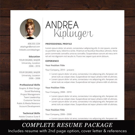 Resume with Photo - Professional, Modern and Creative Resume Design with Free Cover Letter, Word Template for Mac or PC - The Andrea