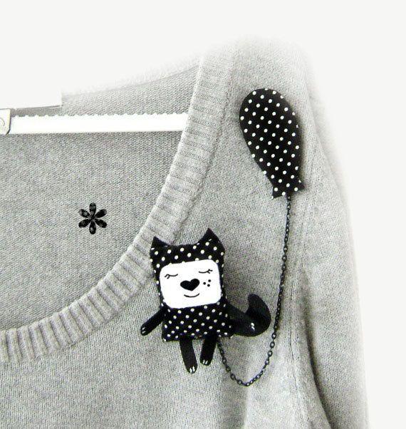 Spilla gatto nero gatto gioielli spilla animale carino di krize