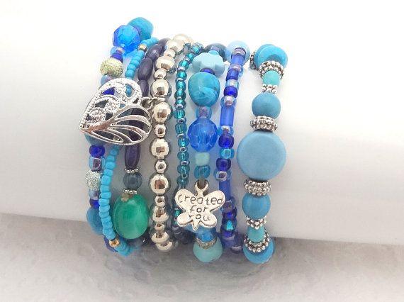 Boho Bracelet Set of 8 - Blue  & Silver - beaded stretch bracelets - handmade in New Zealand #6