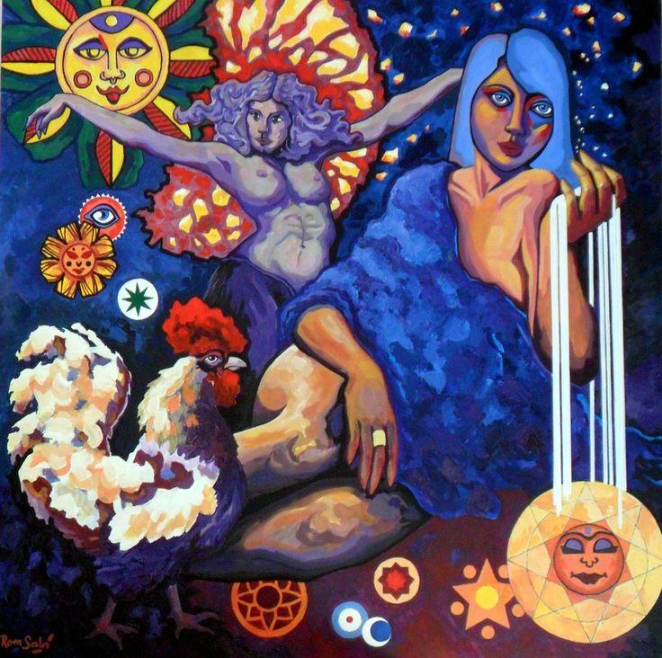 #377 Génesis de la luz de las estellas, Autor: RomSabi, acrílico y esmaltes, sobre tabla de madera, 80 x 80 cm. -