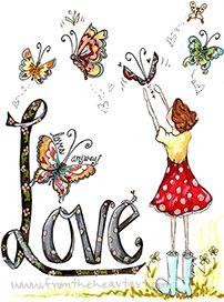 Love Girl With Butterflies Print