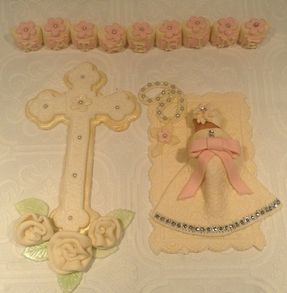 CHRISTENING BABY GIRL Cake Topper Fondant Cake Topper Diamond studded dress communion dress cross baptism
