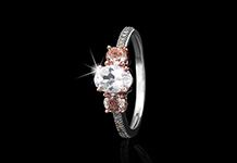 A trilogy ring with a difference! A created white sapphire, morganite and blush diamonds are set in sterling silver to create a gorgeously opulent ring that goes perfectly with any skin tone.