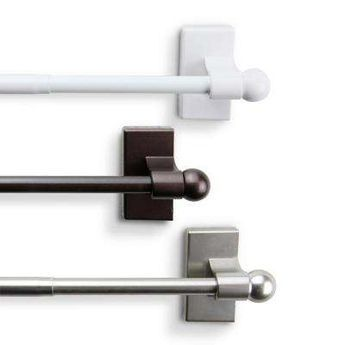 17 in. - 30 in. Telescoping Magnetic Curtain Rod in White