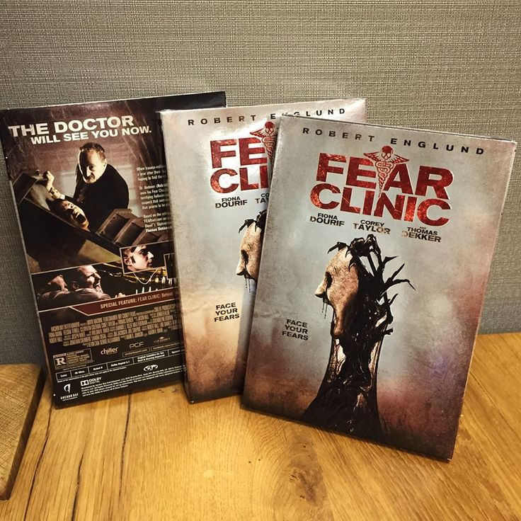 Fear Clinic (2015) is an American horror movie.  Directed By: Robert Green Hall Starring: Corey Taylor, Angelina Armani, Robert Englund, Kevin Gage, & Thomas Dekker. Based on the 2009 web series. Synopsis: Five people with incurable phobias seek treatment in a machine that animates their fears, but unbeknown to them, the machine's operator harbors an entity which feeds on terror.