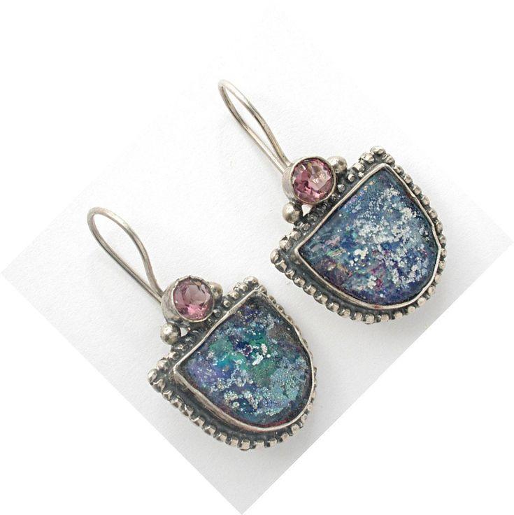 #Dangle, #Earrings, #Jewelry Roman glass dangling earrings. Sterling silver. by Bluenoemi - http://www.judaic-jewelry.com/earrings/roman-glass-dangling-earrings-sterling-silver-by-bluenoemi.html