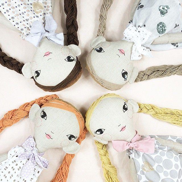 Blonde, Redhead, Brunette and Mousey...#customdoll #linendoll #bespoke #handmadedoll #kidsinteriors #girlsroom #handmadetoys #giftsforkids #toy #doll #loladoll #lolawithlove #design