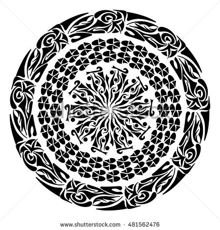 Polynesian tattoo style. Circular ornament design element. Vector Mandala