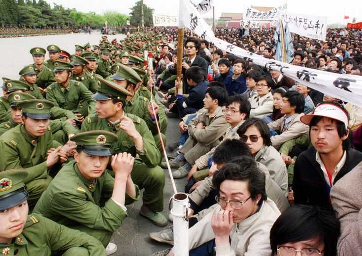 Some two hundred thousand pro-democracy students staged an unauthorized demonstration in Tiananmen Square during the funeral ceremony of the Chinese Communist Party leader and liberal reformer Hu Yaobang, on April 22, 1989. Photograph by Catherine Henriette/AFP/Getty.