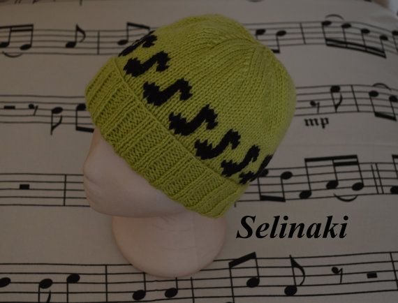 Hand-knit music notes greenbeanie hat.  Handmade by me with 100% acrylic yarns.  Ready to ship.  Thanks for looking and please contact me for any