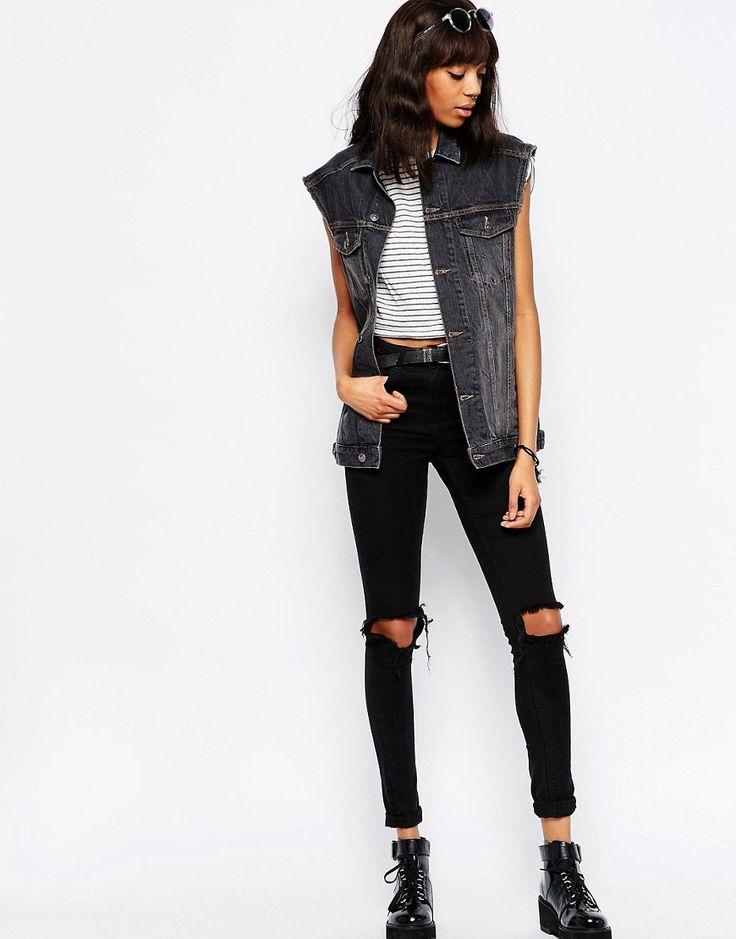 Immagine 4 di ASOS - Gilet di jeans stile girlfriend nero slavato