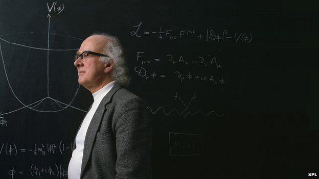 Peter Higgs Q: The Higgs boson Scientists at the Large Hadron Collider (LHC) have discovered a new sub-atomic particle consistent with the long-sought Higgs boson.