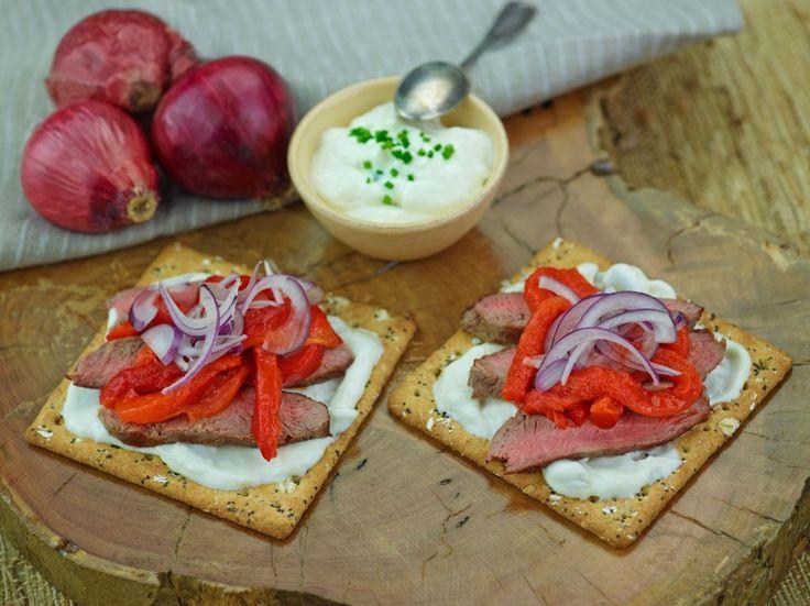 Lamb with Tzatziki, red onion & roast capsicum  - recipe courtesy of Campbell Arnotts
