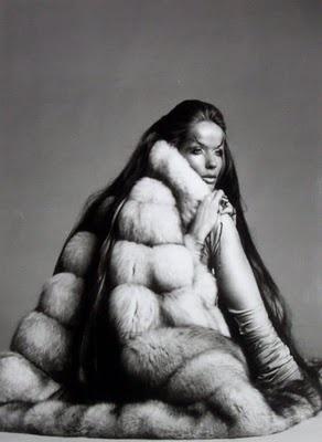 Veruschka wearing fur