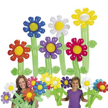 Inflatable Flowers :   These pretty inflatable flowers make a great gift for a friend, as fun table centrepieces or just about anything!   61cm; assorted colours