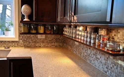 Above counter, under cabinet shelf - good for spices, vitamins, tea, but would look too cluttered?