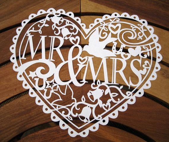 Mr & Mrs hand cut wedding papercut by PocketWren on Etsy