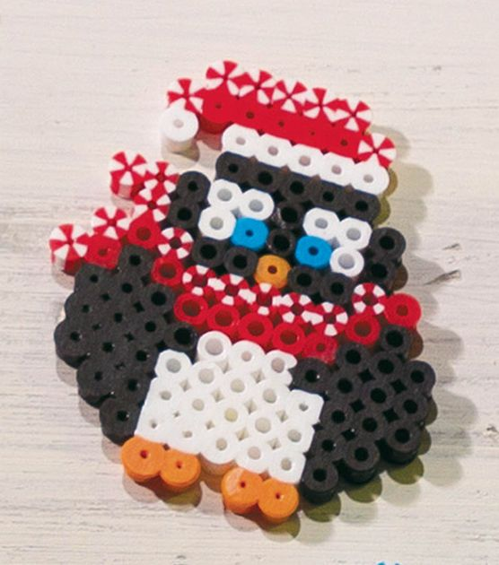 This penguin made with fusible beads is adorable! #simplycreativechristmas