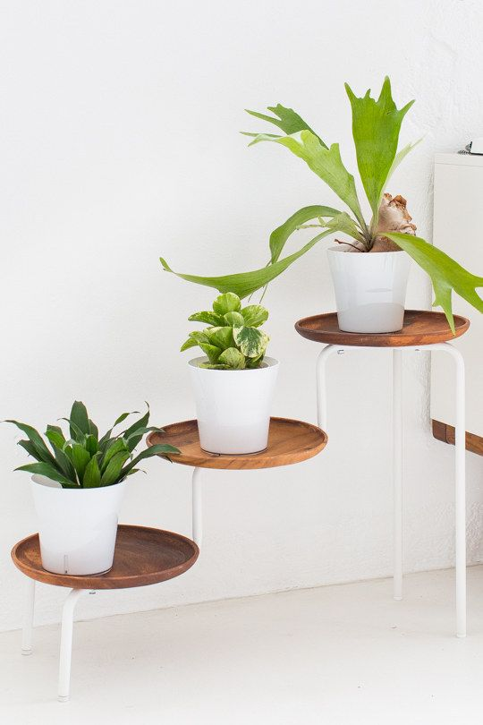 Upgrade an Ikea PS 2014 plant stand with wooden trays.