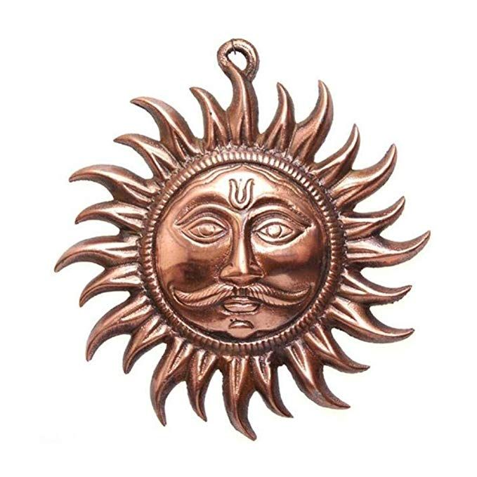 Haridwar Astro Copper Sun Mask Home Wall Hanging 6 Inch Bronze Wall Hanging Hanging Wall Decor Metal Wall Hangings