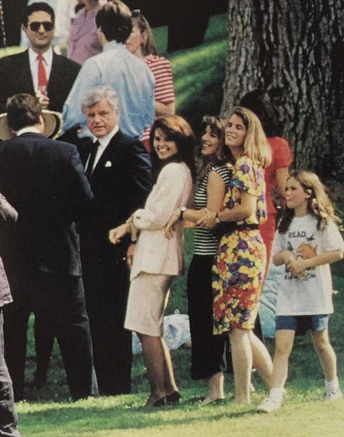 Senator Ted Kennedy, Maria Shriver, Caroline Kennedy and Sydney Lawford McKelvey