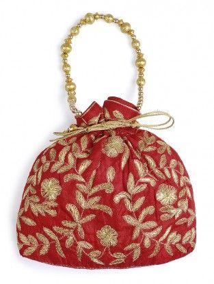 Red-Golden Thread-embroidered Raw Silk Potli