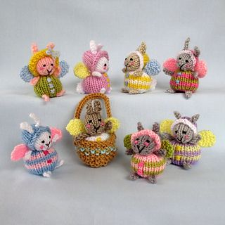 KNITTING PATTERN - Contains instructions for Fairy Bunnies and a tiny basket to keep one in.
