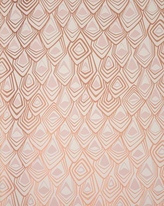 Boho Diamond Wallpaper in Metallic Copper and Blush Pink – Michele Varian Shop