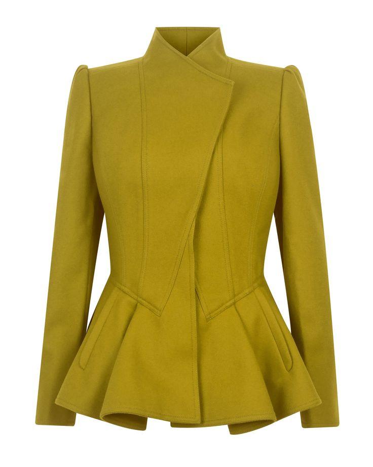 Ted baker Wrenn Wool Peplum Jacket in Green | Lyst