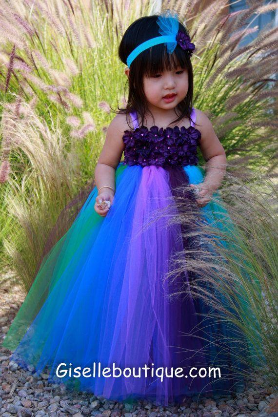 Flower girl dress Peacock Inspired Tutu Dress Series IV , baby tutu dress, toddler tutu dress, wedding, birthday, Newborn, 2t,3t,4t,5t