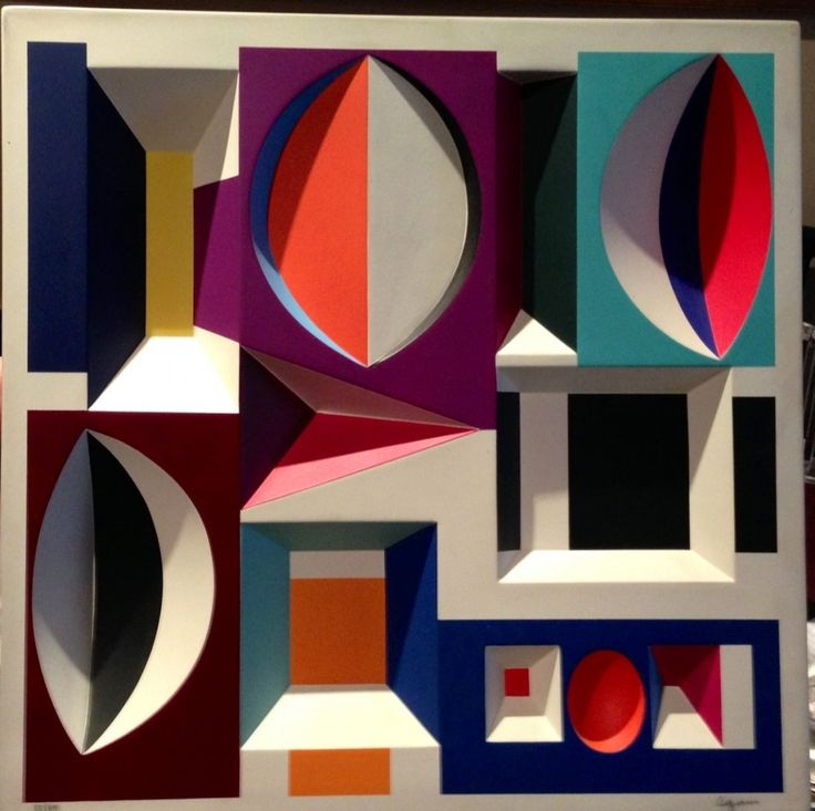 """Yaacov Agam 3-D On Cast Paper, double hand signed and numbered, very rare. Measures approx: 14"""" x 14"""" x 2"""""""