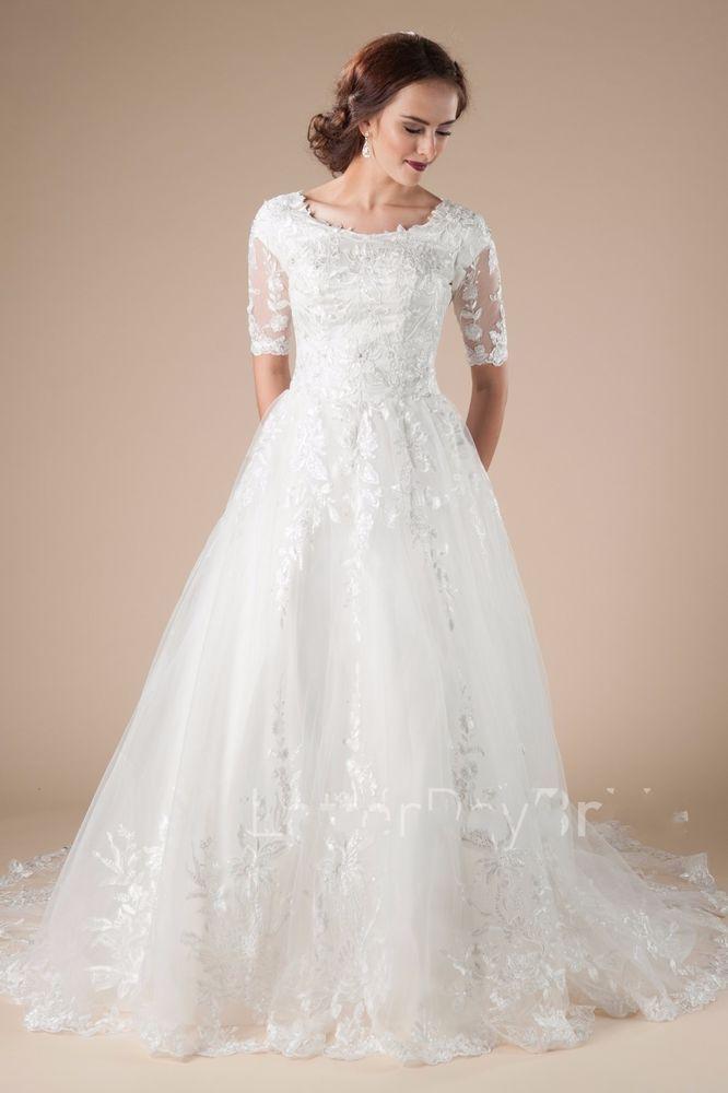 Details About 2019 Modest Short Sleeve Garden Wedding Dress Lace
